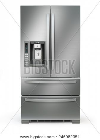 Fridge freezer. Side by side stainless steel refrigerator  with ice and water system isolated on white background. 3d illustration