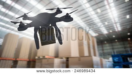 Digital composite of Drone flying by warehouse