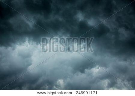 Dark Dramatic Stormy Sky. Danger During A Hurricane