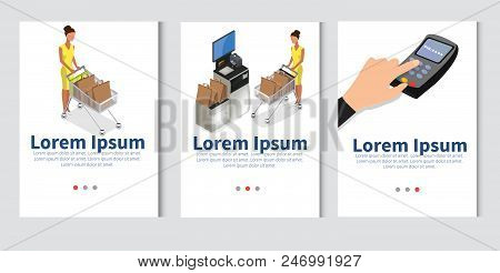 Isometric Model Of Self Checkout Shop Cashier. Self Service Cash Device In Flat Design With Cash Mac