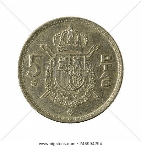 Five Spanish Peseta Coin (1975) Isolated On White Background
