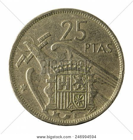 25 Spanish Peseta Coin (1957) Isolated On White Background