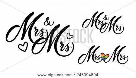 Mrs And Mrs Word Art Vector Design. Gay Wedding Couple. Hand Drawn Lettering. Wedding Invitation Car