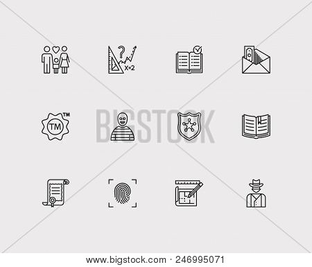 Law Icons Set. Fingerprint And Law Icons With Law, Cowboy And Crime. Set Of Encyclopedia For Web App