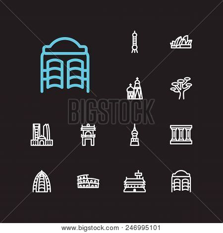 Travel icons set: texas, abu dhabi, shanghAI and dubAI, cityscape, germany set popular traveling cities with saloon  icon illustration for app web mobile UI logo desing. poster
