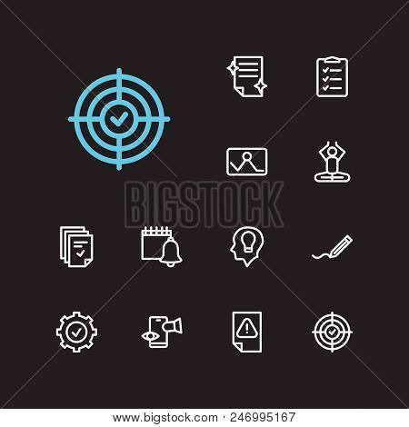 Task Icons Set. Mediate And Task Icons With Reminders, Drop In Productivity And Tasks. Set Of Perfec