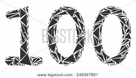100 Text Mosaic Of Triangle Elements In Different Sizes And Shapes. Vector Triangles Are Composed In