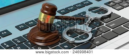 Cyber Crime Concept. Metal Handcuffs And Judge Gavel On Computer Keyboard, 3d Illustration