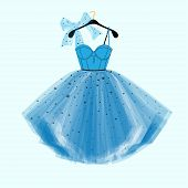 Party Prom dress with fancy bow decor. Fashion illustration poster