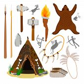Primitive caveman elements. Stone age tools, prehistoric weapons and fire, ancient man hut and knife, cave axe and spear cartoon vector illustration poster