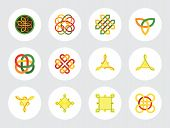 Celtic Ornament Icon Set. Infinite Knot Endless Symbol Eternal Knot Buddhist Symbol Decorative Element Ornament Celtic Symbol Creative Element Celtic Sign Triqueta Shield Quaternary Knot poster