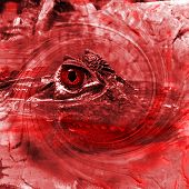 Scary bloodthirsty crocodile just looking on you poster