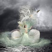 Sea nymph and water birds fairytale background poster