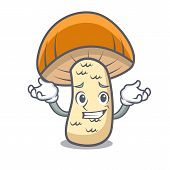 Grinning orange cap boletus mushroom character cartoon vector illustration poster