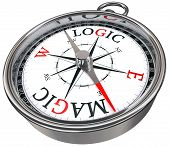 logic versus magic concept compass isolated on white background poster