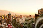 The wealthy neighborhood of Isidora Goyenechea, with El Bosque Avenue, Las Condes district, Santiago, Chile poster
