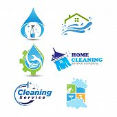 Set of cleaning service logotype. concept of squeegee, purification, wet cleaning, mop, cleanup badge, sweeping. isolated on white background. poster