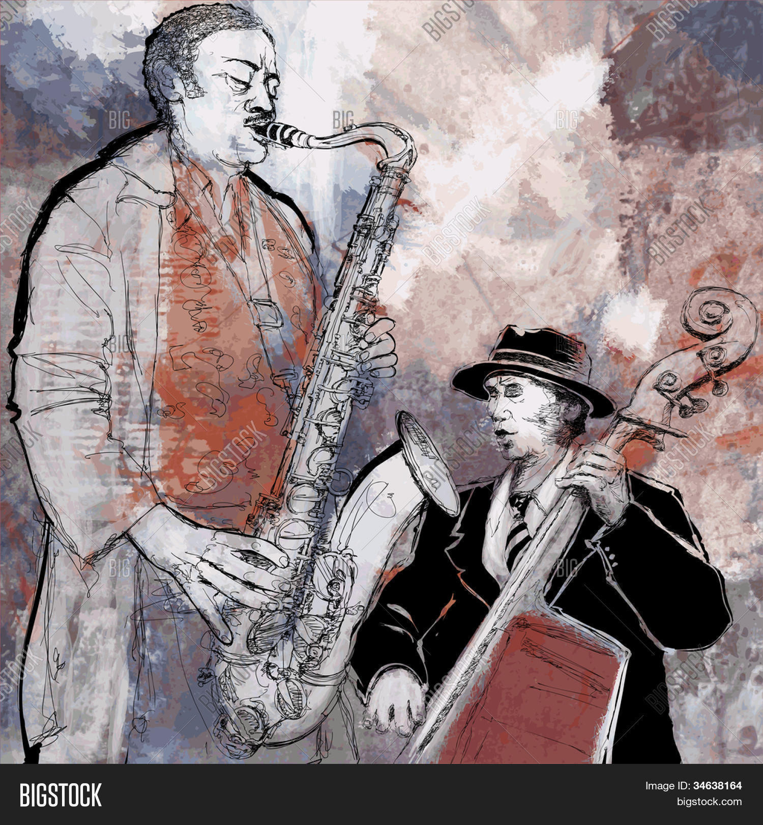 Music And Art Drawings Bass And Sax