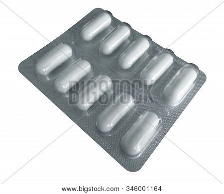 Pack Of Pills Isolated On White Background. Clipping Path Included.
