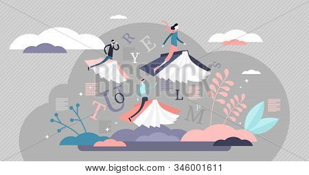 Reading Books Limitless Fantasy Journey Concept, Flat Tiny Persons Vector Illustration. Flying On Bo