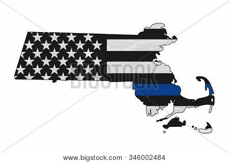 American Thin Blue Line Flag On Map Of Massachusetts For Your Support Of Police Officers 3d Illustra
