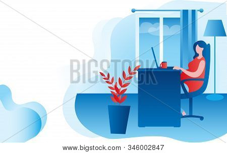 Pregnant Woman Working At Home At The Computer. Vector Illustration In Red And Blue Colors On The Th