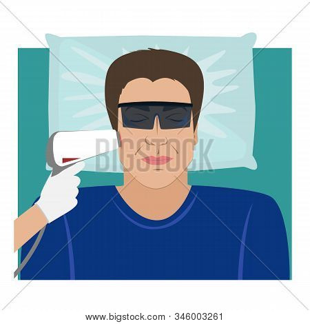 The Man Receiving Laser Hair Removal Treatment At Beauty Center. Vector Illustration
