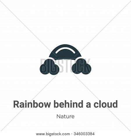 Rainbow Behind A Cloud Vector Icon On White Background. Flat Vector Rainbow Behind A Cloud Icon Symb