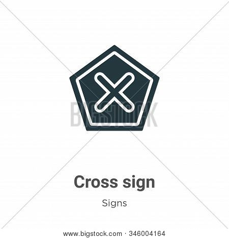 Cross sign icon isolated on white background from signs collection. Cross sign icon trendy and moder