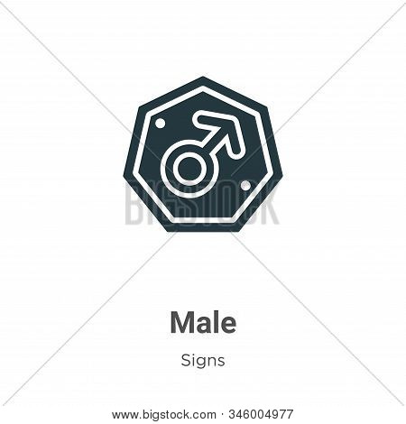 Male symbol icon isolated on white background from signs collection. Male symbol icon trendy and mod