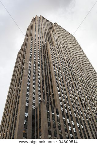 NEW YORK CITY, USA - JUNE 8: The GE Building is an Art Deco skyscraper that forms the centerpiece of Rockefeller Center in Midtown Manhattan. June 8, 2012 in New York City, USA
