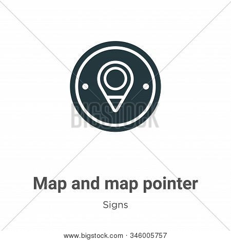 Map and map pointer icon isolated on white background from signs collection. Map and map pointer ico