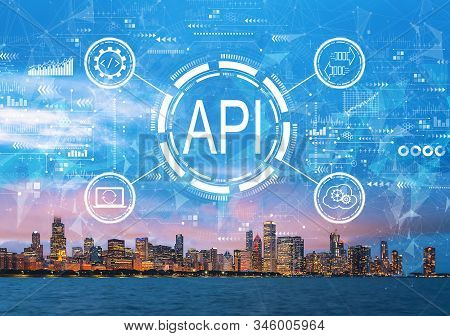 Api - Application Programming Interface Concept Api Concept With Downtown Chicago Cityscape Skyline