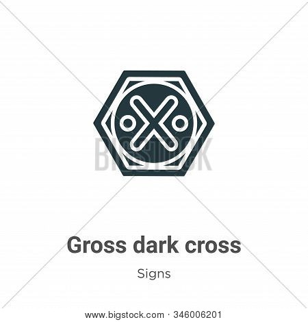 Gross dark cross icon isolated on white background from signs collection. Gross dark cross icon tren