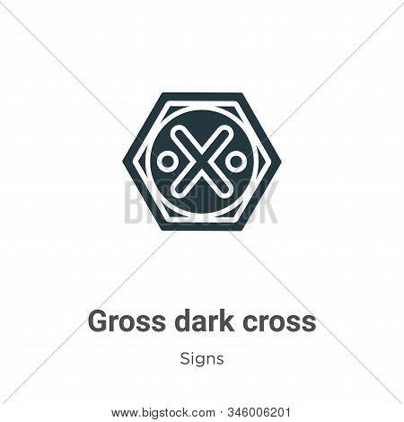 Gross Dark Cross Vector Icon On White Background. Flat Vector Gross Dark Cross Icon Symbol Sign From