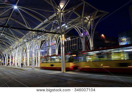 Lodz / Poland. 18 July 2019:  Night Tram Riding Around Night City. Lodz Red Tram. Modern Tram Going