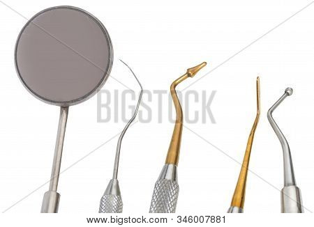 Tools On White Background In The Medical Dental Clinic