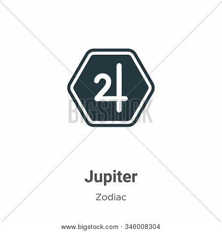 Jupiter Vector Icon On White Background. Flat Vector Jupiter Icon Symbol Sign From Modern Zodiac Col
