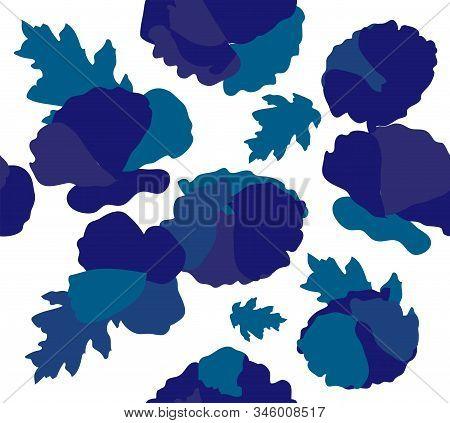 Vector Illustration Of Seamless Blue Flowers Background. Blue Flowers Pattern. Phantom Blue Flowers