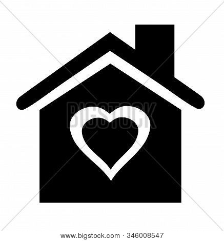 Vector Illustration Of A House Icon With A Heart.