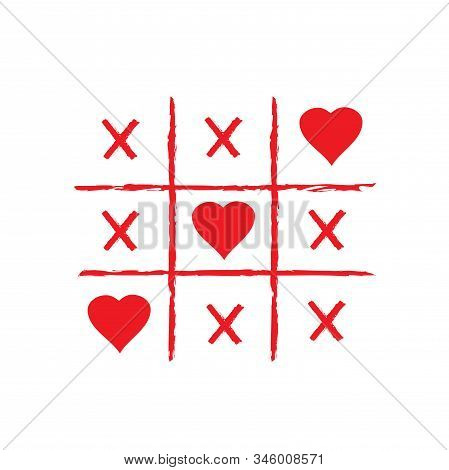 Vector Illustration Of Tic Tac Toe Game With Hearts.