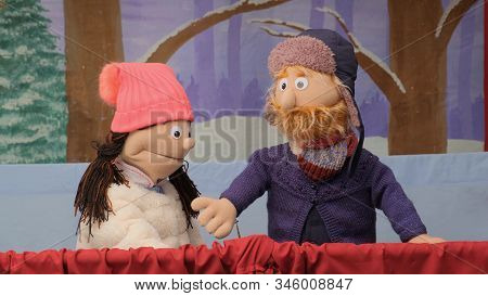 Puppets Talking And Looking At The Camera. Puppet Girl And Puppet Boy Speaking During The Performanc