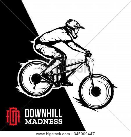 Vector Downhill Mountain Biking Design Illustration