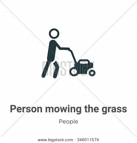 Person Mowing The Grass Vector Icon On White Background. Flat Vector Person Mowing The Grass Icon Sy