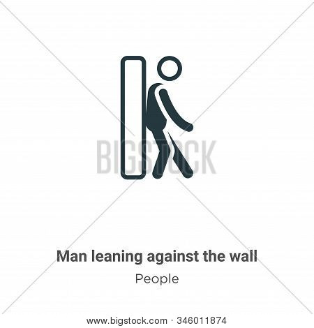 Man Leaning Against The Wall Vector Icon On White Background. Flat Vector Man Leaning Against The Wa