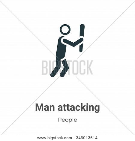 Man Attacking Vector Icon On White Background. Flat Vector Man Attacking Icon Symbol Sign From Moder