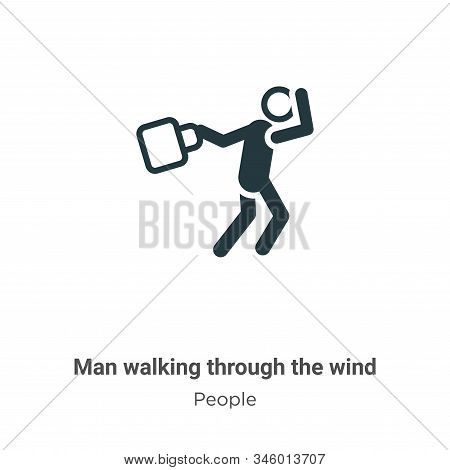 Man walking through the wind icon isolated on white background from people collection. Man walking t
