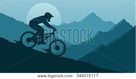 Vector Downhill Mountain Biking Illustration