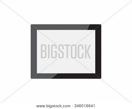 Realistic Empty Black Horizontal Picture Frame Isolated On White Background. Vector Glass Photoframe