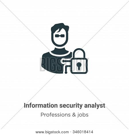 Information Security Analyst Vector Icon On White Background. Flat Vector Information Security Analy